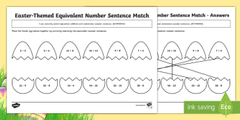 Year 3 Easter-Themed Equivalent Number Sentence Match Differentiated Activity Sheets - Australia Easter Maths, Easter, Australia, mathematics, year 3, maths, number sentences, equivalent