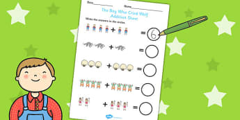 The Boy Who Cried Wolf Up to 10 Addition Sheet - Aesop's fables