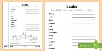 Castles Word Unscramble - Vocabulary Development, anagrams, scramble, spelling, keywords