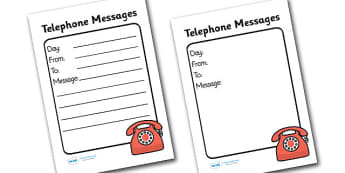 General Telephone Message Template - role play, telephone message, message pad, doctor, nurse, surgery, people who help us role play, people who help us