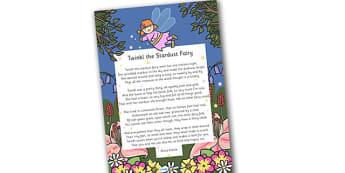 Twinkl the Stardust Fairy Poem - twinkl the stardust fairy poem, twinkl, poem, birdy, stardust, fairy, poem, fairies, rhyme, creative