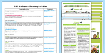 EYFS Minibeasts Discovery Sack Plan and Resource Pack - EYFS, minibeasts, discover