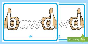 Cymysgu 'b' a 'd' Poster Arddangos A4 - WL Social Media Requests in Welsh FP (HIGH PRIORITY), cymysgu b a d, sillafu,