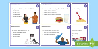 Speaking and Listening Cards Activity - Key Stage 4 Entry Level, getting to know you, discussion, listening, speaking, social skills.