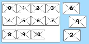 Numbers 0-10 on Envelopes - Envelopes, numbers, letterbox, post, Postal Worker, letter, parcel