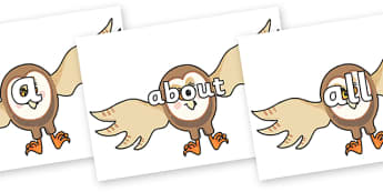 100 High Frequency Words on Hullabaloo Owl to Support Teaching on Farmyard Hullabaloo - High frequency words, hfw, DfES Letters and Sounds, Letters and Sounds, display words