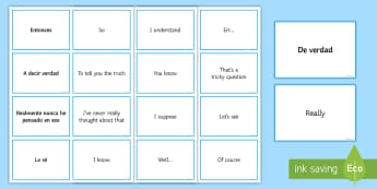Spanish Conversation Gap Fillers Matching Cards - Spanish Speaking Practice, gap fillers, conversation, spontaneous, speaking, matching, cards