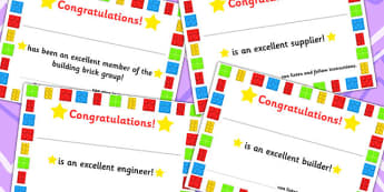 Building Bricks Therapy Certificates - rewards, reward, build