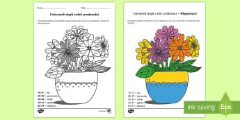 Colorează după codul produsului - Plante și creșterea lor - plante, creșterea plantelor, lumea vie, plante si animale, stiintele vieții, matematică, inmultir