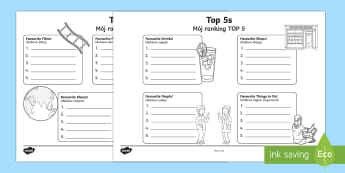 Top 5s Ranking Favourites Activity Sheet English/Polish - new class, getting to know you, preferences, worksheet,Polish-translation