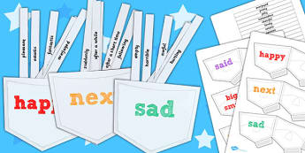 Interactive Interesting Words Sorting Pockets - templates, words
