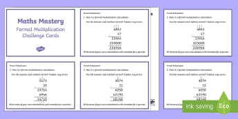 Year 6 Calculation Formal Multiplication Maths Mastery Activities Challenge Cards - ks2 maths mastery, formal methods
