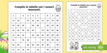 I numeri mancanti di Pasqua Attività - numeir, mancanti, matematica, italiano, italian, fino, a 100, materiale, scolastico