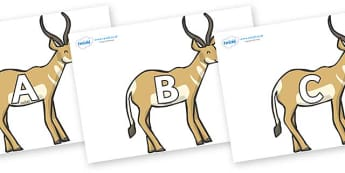 A-Z Alphabet on Antelopes - A-Z, A4, display, Alphabet frieze, Display letters, Letter posters, A-Z letters, Alphabet flashcards