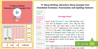 Y1 Story Writing: Adventure Model/Example Text - Example Texts Y1, genre, WAGOLL, exemplar, fiction, text, text features, SPaG, GPS, example, exempli, ARE, age-related example, model, model text, age-related model