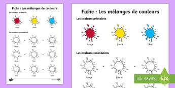 Feuille d'activités : Les mélanges de couleurs - Couleurs, colours, Cycle 1, activités artistiques, mélange, mixing, art, cycle 2,French