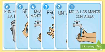 Pósters DIN A4: Cómo lavarse las manos - lavarse, manos, mano, cómo lavarse las manos, higiene, cuidado, cuidarse, cuidar, pósters, póster - lavarse, manos, mano, cómo lavarse las manos, higiene, cuidado, cuidarse, cuidar, pósters, póster