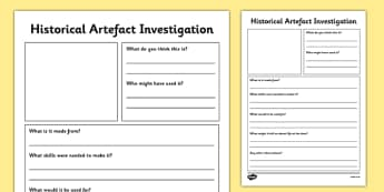 Historical Artefact Investigation Activity Sheet - historical, artefact, investigation, activity, sheet, artefacts, worksheet