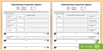 Subordinating Conjunctions KS2: What Is a Subordinating Conjunction? Jigsaw Activity Sheet - subordinating conjunctions KS2, what is a subordinating conjunction, conjunction, subordination, sub