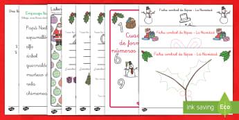 Pack de recursos: Formación de letras y trazo - La Navidad - grafomotricidad, motricidad, motor, motriz, pre, pre-escritura, escritura, navidad, navideño,Spanis - grafomotricidad, motricidad, motor, motriz, pre, pre-escritura, escritura, navidad, nav