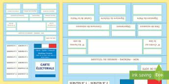 Feuille d'activités : Ma carte électorale - Les élections présidentielles, cycle 2, cycle 3, presidential elections, France, carte électorale
