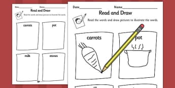 Stone Soup Read and Draw Worksheet - stone soup, read, draw