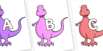A-Z Alphabet on Tyrannosaurus - A-Z, A4, display, Alphabet frieze, Display letters, Letter posters, A-Z letters, Alphabet flashcards