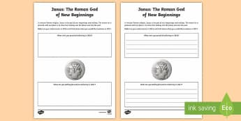 Janus: The Roman God of New Beginnings Activity Sheet -  Janus, Roman God, God, new beginnings, new year, resolutions, reflection, two faces, past, future,
