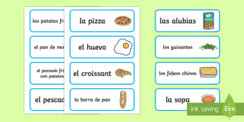 Food Word and Picture Cards Spanish  - Spanish, Vocabulary, KS2, food, eating, word, picture, cards, flashcards ,Spanish