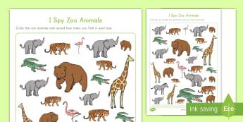 I Spy Zoo Animals Activity Sheet - Early Childhood Animals, Animals, Pre-K Animals, K4 Animals, 4K Animals, Preschool, Zoo Animals, Zoo