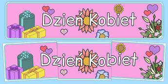 Banner na gazetkę Dzień Kobiet - gazetka, ściana, szkolna, klasowa, marzec, marca, ósmy, 8/05, kobiety, kobieta, dziewczyna, dziewczynka
