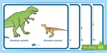 Grande e piccolo paragone Poster - grande, piccolo, misure, grandezza, misura, italiano, italiano, materiale, scolastico, poster