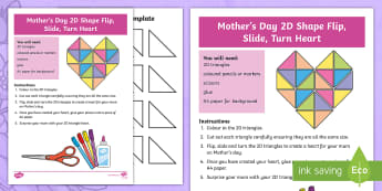 Mother's Day 2D Shape Flip, Slide, Turn Heart Activity Sheet - Mother's Day Maths, maths, mother, Worksheet, mother's day, mum, location and transformation, ACMM