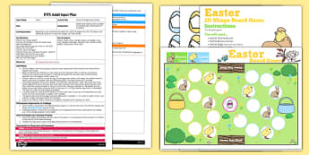 Easter 2D Shape Board Game EYFS Adult Input Plan and Resource Pack - easter, pack