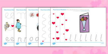 Valentine's Day Pencil Control Worksheets Arabic Translation - arabic, valentines day, control