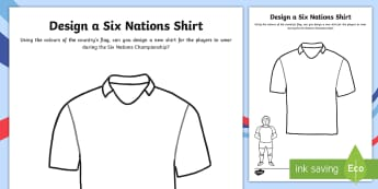 Design A Rugby Six Nations Shirt Activity Sheet - Rugby Six Nations, 4th February 2017, rugby, union, team, Championship, tournament, competition, win