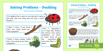 EYFS Maths: Solving Problems Doubling Home Learning Challenges - EYFS, Number, ELG, mathematics, early years, EYFS Planning, teaching, activities, maths, small group