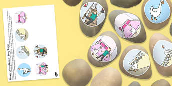 Goosey Goosey Gander Story Stone Image Cut Outs - Story stones, stone art, painted rocks, Nursery Rhymes, song