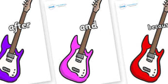 Connectives on Guitars - Connectives, VCOP, connective resources, connectives display words, connective displays