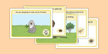 Bush Animals Playdough Mats - australia, Science, Year 1, Habitats, Australian Curriculum, Bush, Living, Living Adventure, Environment, Living Things, Animals, Body Parts, Playdough Mat
