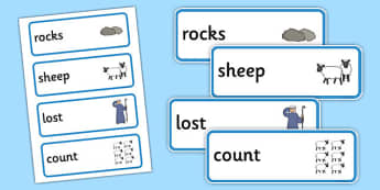 The Lost Sheep Word Cards - the Lost Sheep, sheep, shepherd, lost sheep, cards, flascards, word cards, 100, 99, search, searching, looking for, safe, carried home, bible story, bible, party, happy