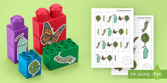 Life Cycle of a Butterfly Matching Connecting Bricks Game - EYFS, Early Years, KS1, Connecting Bricks Resources, duplo, lego, plastic bricks, building bricks, l