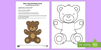 Mother's and Father's Day Bear Hug Greeting Cards English/Portuguese - Mothers' Day, Fathers' Day, greeting card, template, bear hug, visual art, cutting, colour, dad, m