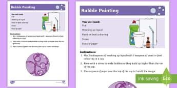 Bubble Painting Recipe - New Zealand ECE resources, bubbles, paint, craft,