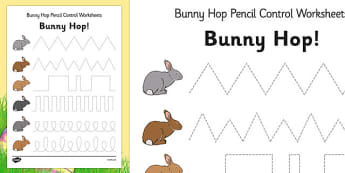 Bunny Hop Pencil Control Worksheets - easter, fine motor skills
