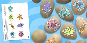 Story Stone Image Cut Outs to Support Teaching on The Rainbow Fish - story stone, image, cut outs