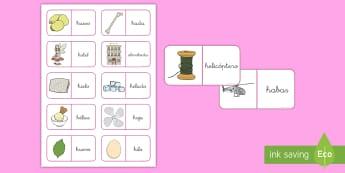 Dominos: La letra H - lecto, leer, lectura, sonidos, letra , lecto-escritura, fónemas, sonidos, letra h, sonido h, conson