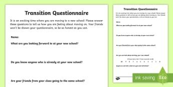 Transition Questionnaire Activity Sheet - Young People & Families Case File Recording, referral, chronology, contents page,buddy system, safeg