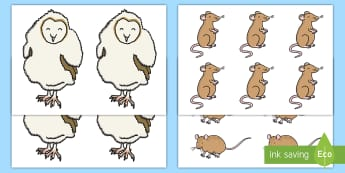 Owl and Mice Cut-Outs - EYFS Owlets, Owl Babies, Martin Waddell, cut outs, display, small world, maths, division, early divi