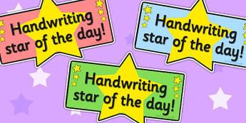 Handwriting Star Badge - reward, award, writing, hand writing
